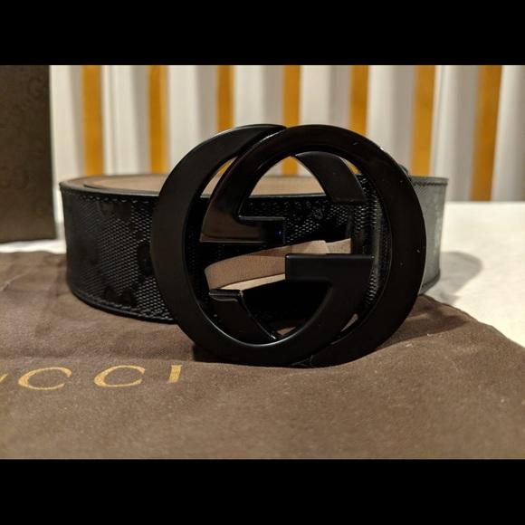 4b364337028 Brand New Men Authentic Gucci Belt Black Imprime